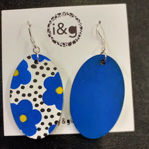Blue Floral Drop Earrings (Pair of) - Luvit!