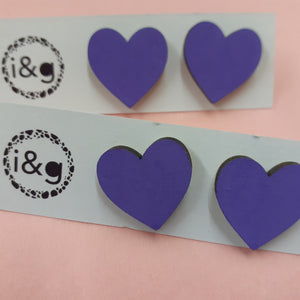 Purple Pastel Heart Stud Earrings (Pair of ) - Luvit!