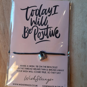 """Today I Will Be Positive"" WishString charm bracelet"