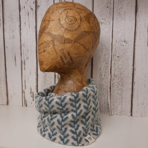 Handmade Merino Wool Snood, Running Leaf Pattern (Petrol Blue)