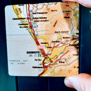 Barmouth North Wales OS Map Wooden Fridge Magnet - Luvit!