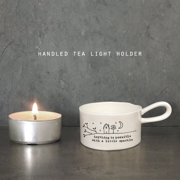 Ceramic tea light holder - 'Anything is possible with a little sparkle'