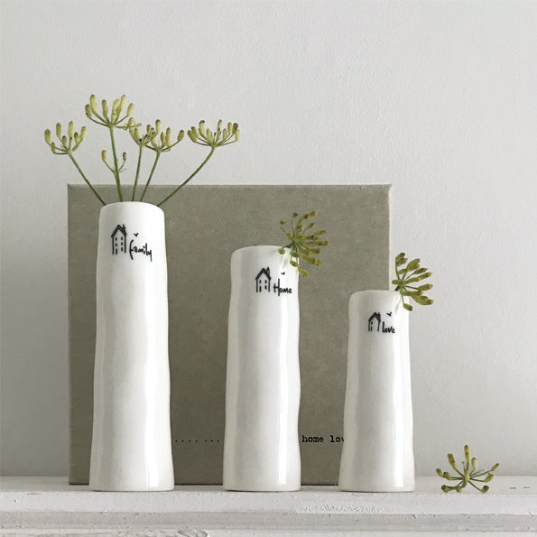 Trio Of Bud Vases - 'Home Family Love '