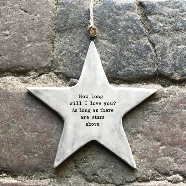Grey Porcelain Hanging Star