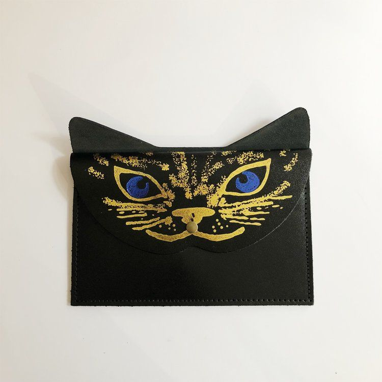 Black Metallic Cat Clutch Pouch - Ark Colour Design - Luvit!