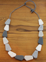 Load image into Gallery viewer, Grey Combo Geometric Resin Necklace - Luvit!