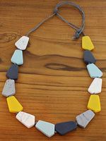 Load image into Gallery viewer, Blues and Yellows Combo Geometric Resin Necklace - Luvit!