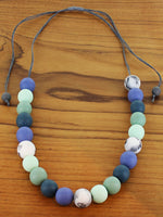 Load image into Gallery viewer, Adjustable Resin Ball Necklace - Blues and Greys - Luvit!