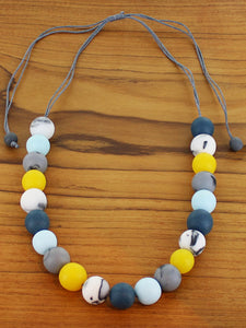 Adjustable Resin Ball Necklace - Blues and Mustard - Luvit!