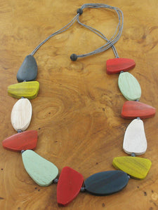 Asymmetric Wooden Pebble Necklace - Luvit!
