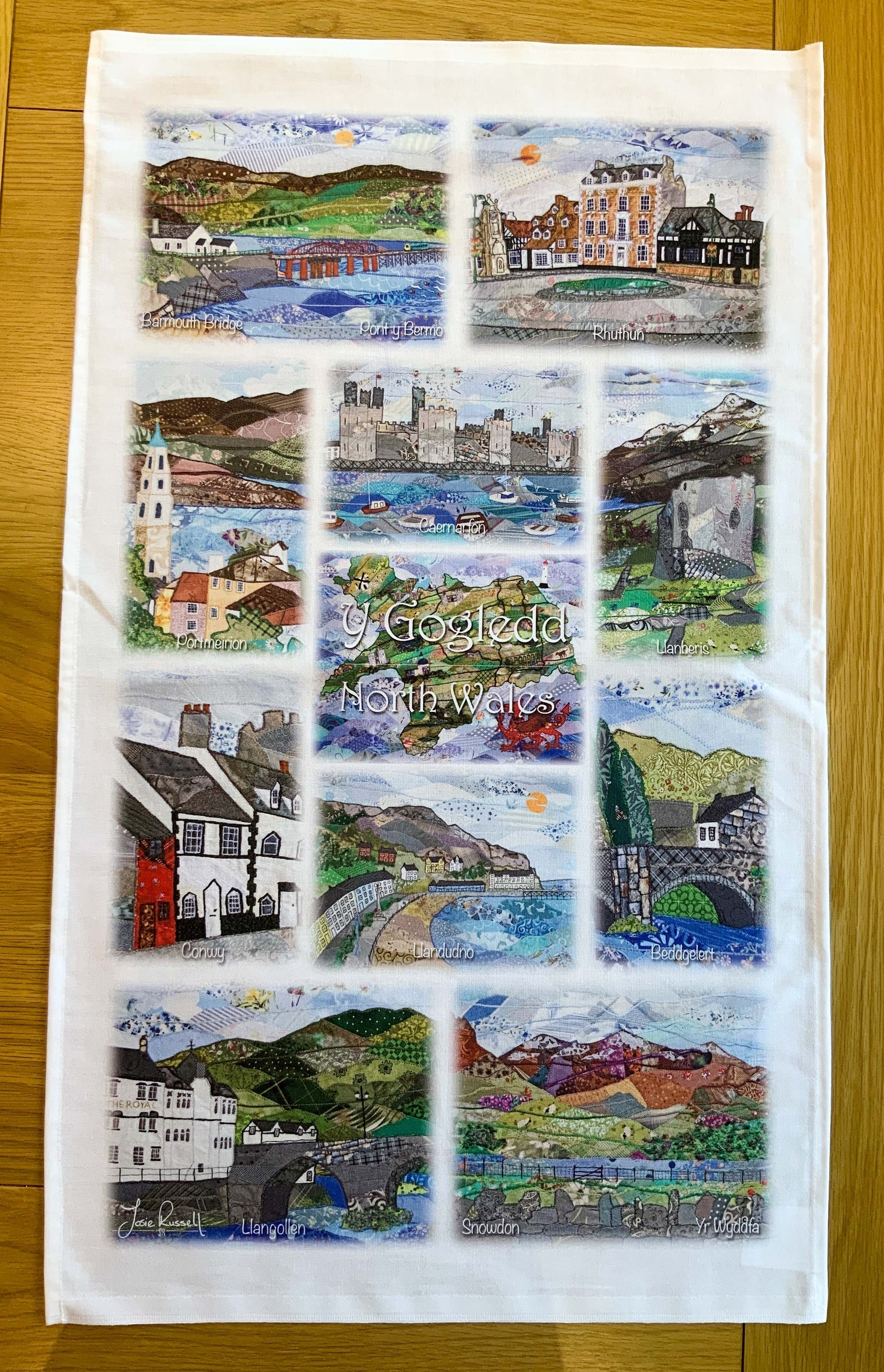North Wales tea towel artwork by Josie Russel