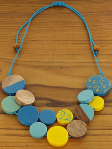 Contemporary Mixed Resin & Wood Disc Collar Necklace - Luvit!