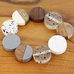 Load image into Gallery viewer, Elasticated Resin and Wood Bracelet - grey, white and wood - Luvit!