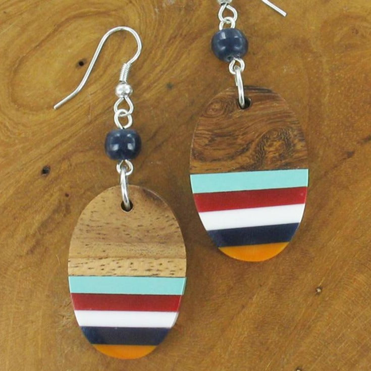 Oval Resin and Wood Earrings - Multicolour - Luvit!