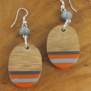 Oval Resin and Wood Earrings - Orange and Copper - Luvit!
