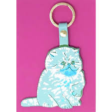Cat Leather Key Ring (Turquoise) - Luvit!