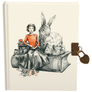 Girl With Animal Friends Lockable Journal