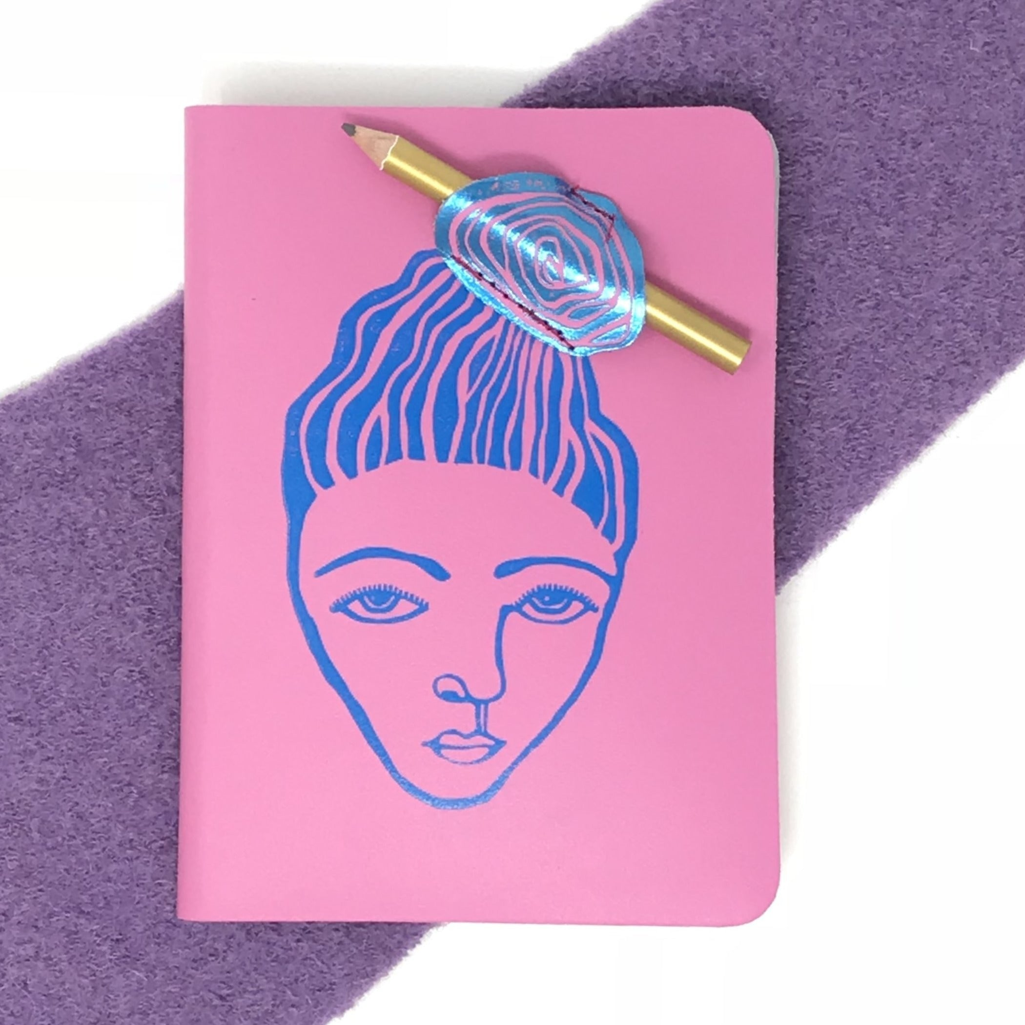 Girl Messy Bun Pink Notebook with Pencil - Luvit!