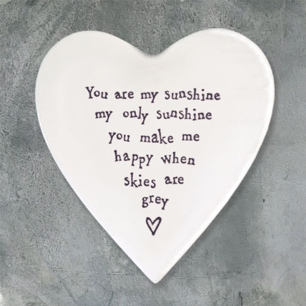 'You are my sunshine' Ceramic Heart Coaster - Luvit!