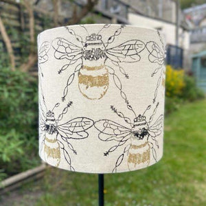 Hand Printed Bee Design Lampshade - Luvit!