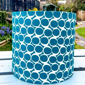 Hand Assembled Teal Circle Lampshade - Luvit!