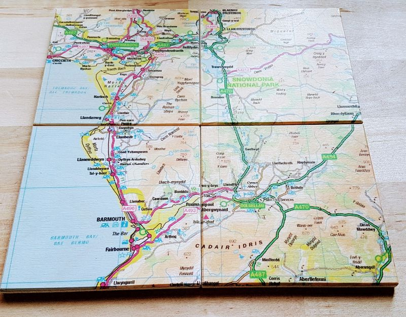Barmouth OS Map Wooden Coasters - Luvit!