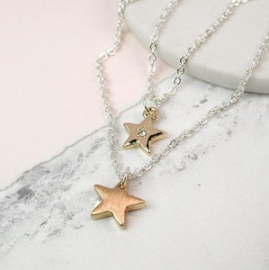 Silver Plated Layered Necklace With Gold Stars - Luvit!