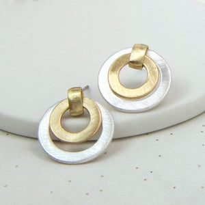 Mixed Silver And Gold Finish Circle Earrings - Luvit!