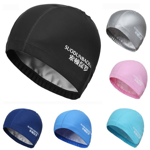 New 2020 Elastic Waterproof PU Fabric Protect Ears Long Hair Sports Swim Pool Hat Swimming Cap Free size for Men & Women Adults
