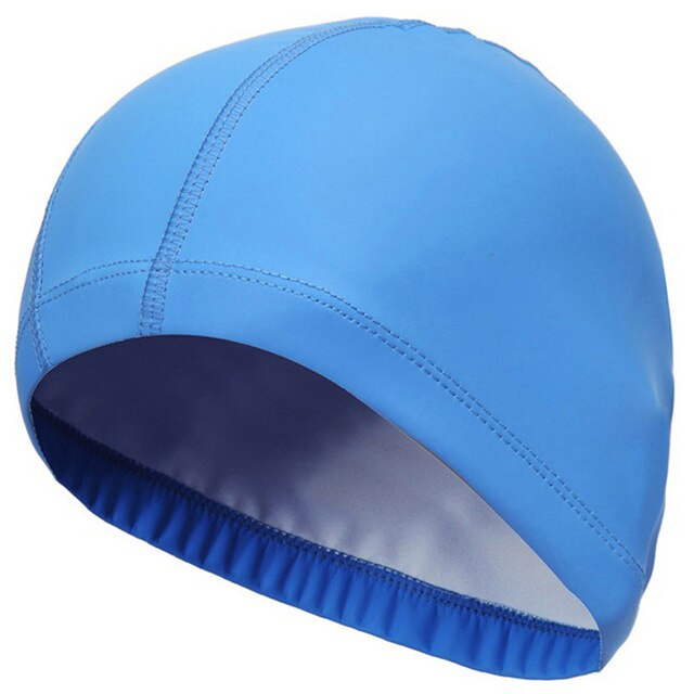 2020 Elastic Waterproof PU Fabric Protect Ears Long Hair Sports Swim Pool Hat Swimming Cap Free size for Men & Women Solid Color
