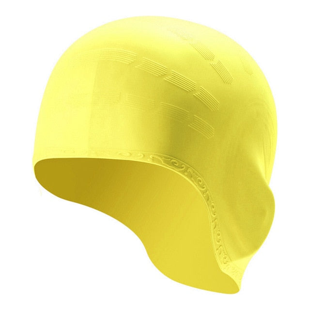 A New Unisex Ear Protection Silicone Swimming Pool Cap Adult Waterproof Swimming Cap Hot Sale