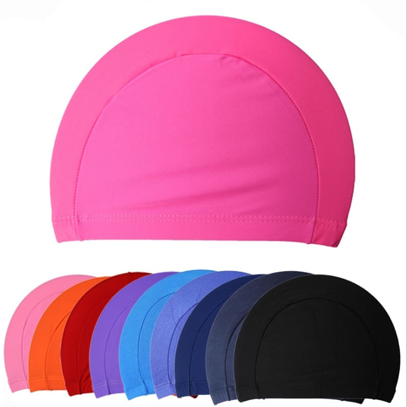 Free Size Fabric Protect Ears Long Hair Sports Siwm Pool Swimming Cap Hat Adults Men Women Sporty Ultrathin Adult Bathing Caps