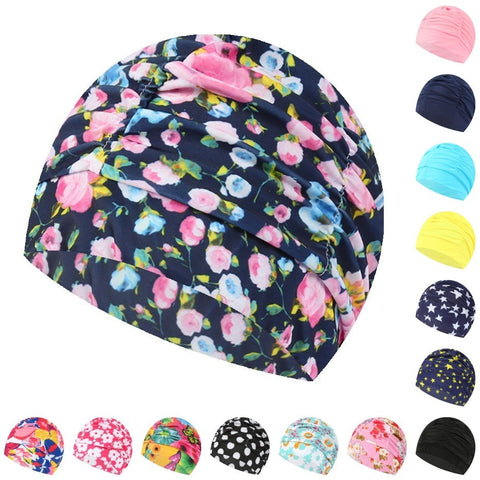 Swimming Hat Women Unisex Girls Long Hair Bathing Cap Swimming Cap Stretch Drape Free Size Swim Pool Sport Elastic Nylon Turban