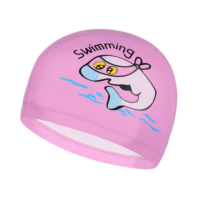 Children Swimming Cap Cartoon Dolphin Animal Printing kids PU cloth Waterproof Swim hat Boys Girls Ear Protect Diving Equipment