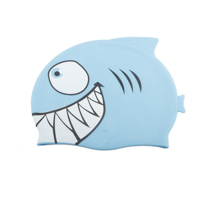 Swimming Cap children Silicone Waterproof Protect Ear Shark Swim Pool Hat kids Cartoon Boys Girls Diving hats