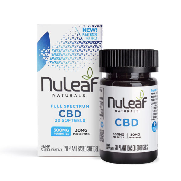 Nuleaf Naturals Full Spectrum Hemp Extract CBD Capsules 300mg (15mg/softgel) 20ct