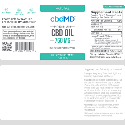CBDMD BROAD SPECTRUM THC FREE CBD OIL 750 MG