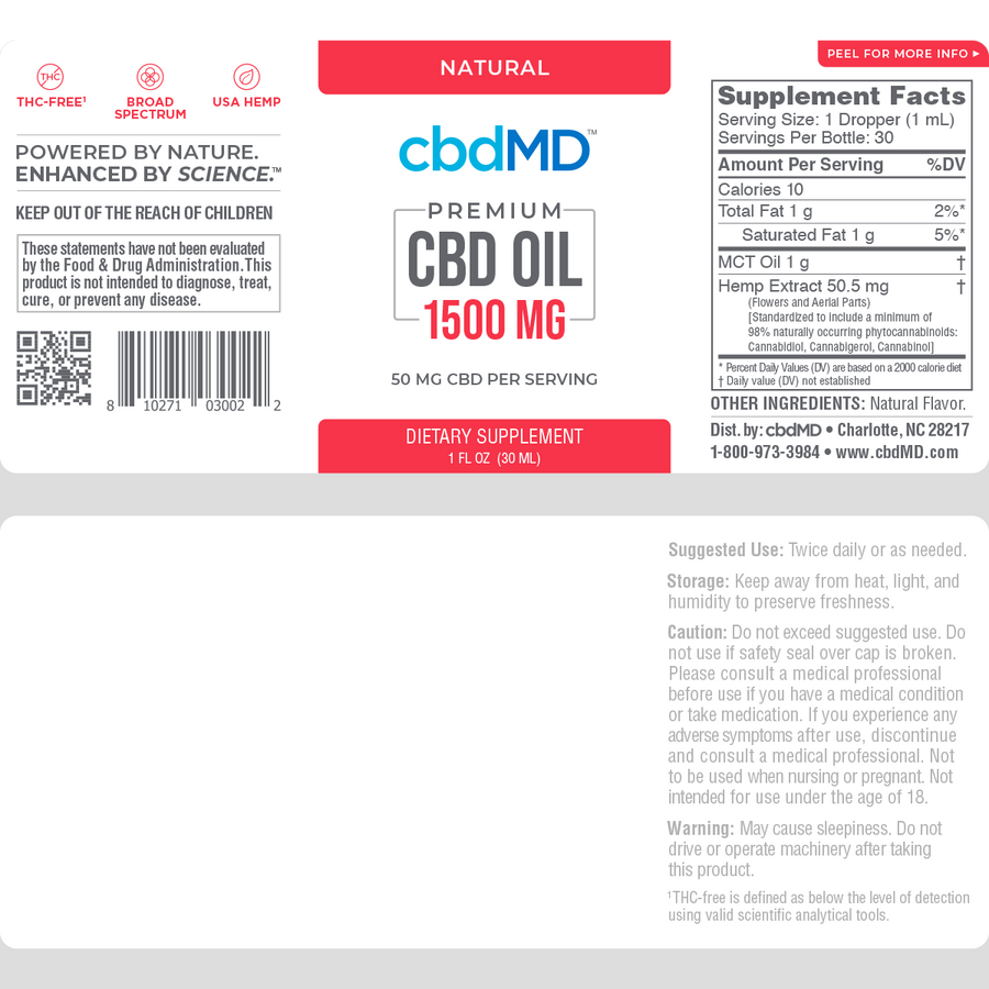cbdMD CBD Oil Tincture NATURAL - 1500 MG - 30 ML