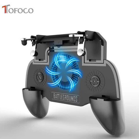 SR Mobile gaming trigger controller with a power bank cooling fan for Cellphone PUBG and COD Mobile