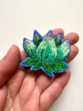Load image into Gallery viewer, Succulent brooch - hand embroidered