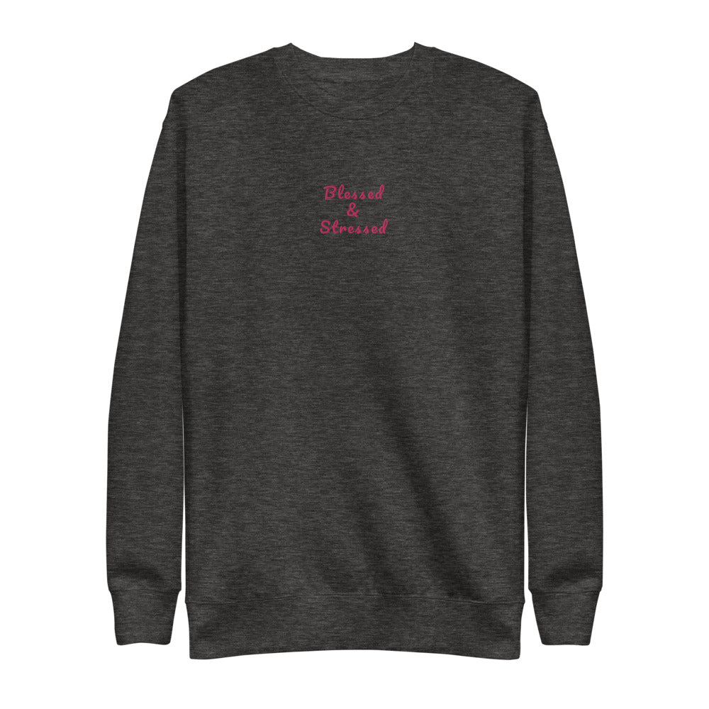 Signature Blessed and Stressed Embroidered Fleece Pullover