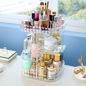Acrylic Makeup Organizer 360-Degree Rotating Cosmetic Storage Box - Truest Value
