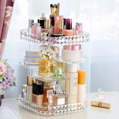 Image of Acrylic Makeup Organizer 360-Degree Rotating Cosmetic Storage Box - Truest Value