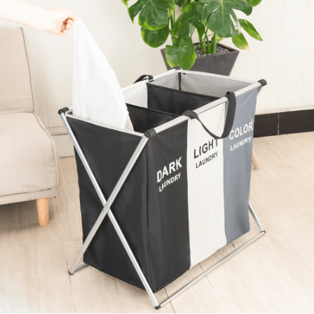 Foldable Cloth Hamper Bin with Handles for 2-3 Sections - Truest Value