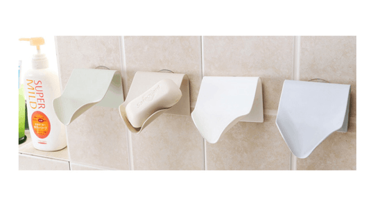 Japanese Minimalist Designed Self-Adhesive Shower Soap Dish Waterfall Drain - Truest Value