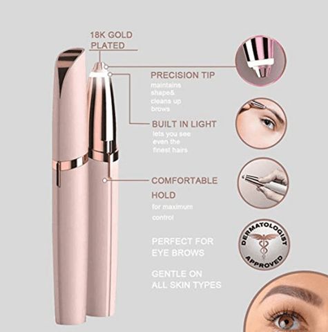 Image of Mini Electric Painless Eyebrow Trimmer with LED Light - Truest Value