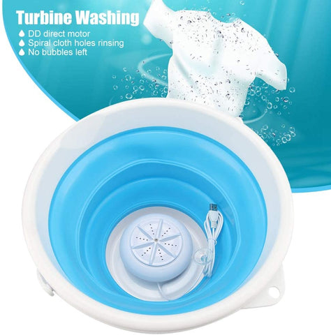 Mini Portable Washing Machine With Foldable Tub Portable Personal Rotating Ultrasonic Turbines Washer USB Convenient Laundry for Camping Apartments Dorms RV Business Trip - Truest Value