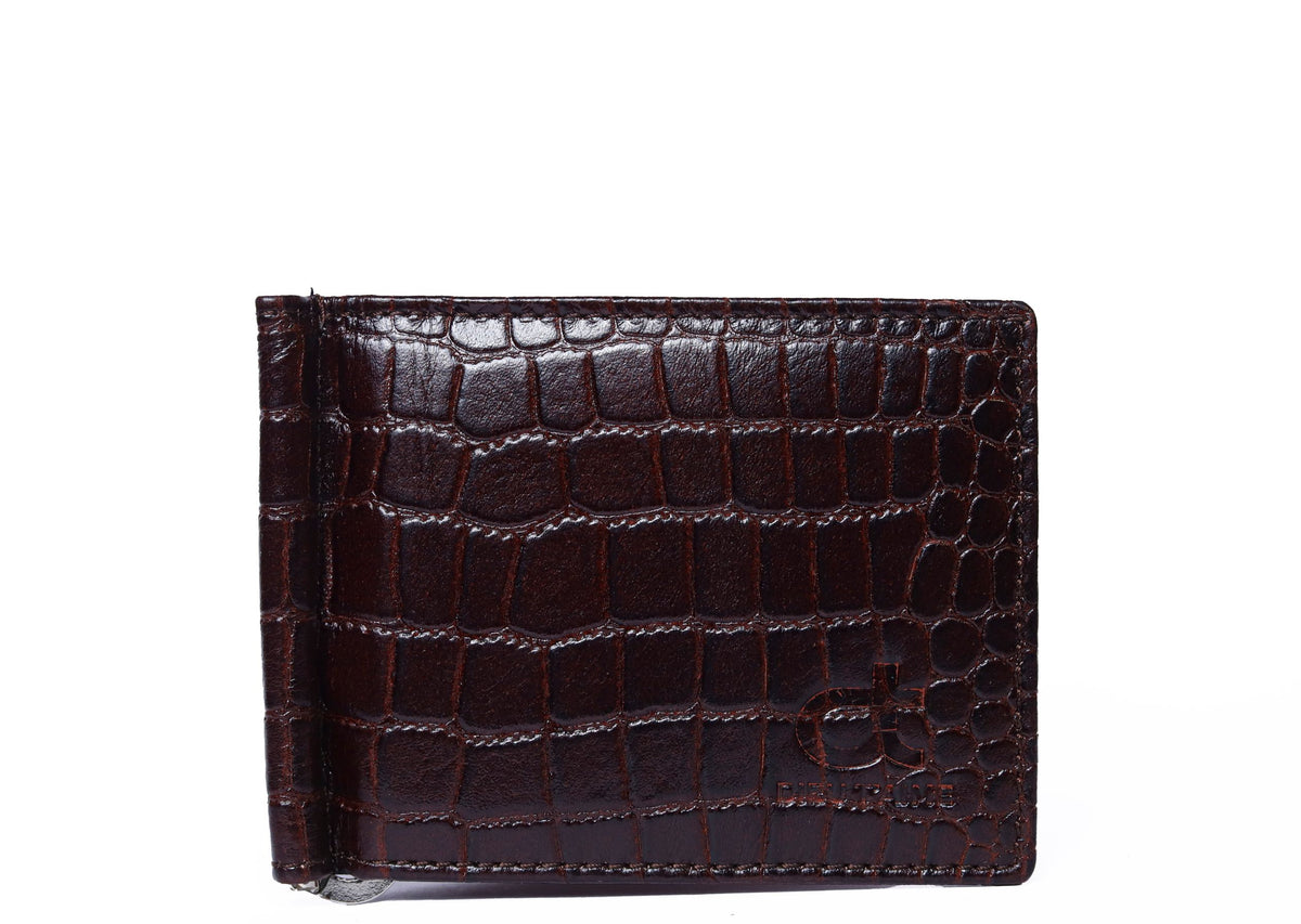 CROCO DARK BROWN MONEY CLIP