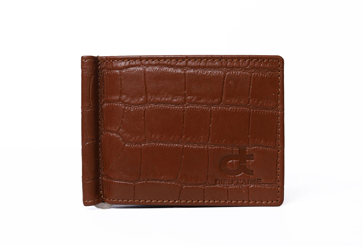 CROCO BROWN MONEY CLIP