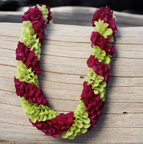 purple green spiral lei